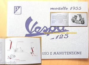VESPA-125-Modello-1955-Scheinwerfer-unten-RETRO-Betriebsanleitung-Handbuch
