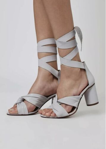 Grey Summer Size Nola Party Lilla Topshop Leather Shoes Sandals Strappy 6 Heels dvw8qwR