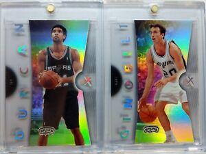 Rare-Lot-of-2-2006-07-06-07-FLEER-EX-Spurs-Tim-Duncan-Ginobili-ACETATE-Premium