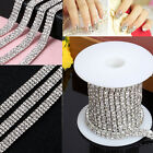 1-row/2-row/3-row 1Yard Silver Crystal Rhinestone Close Chain Trim new DIY