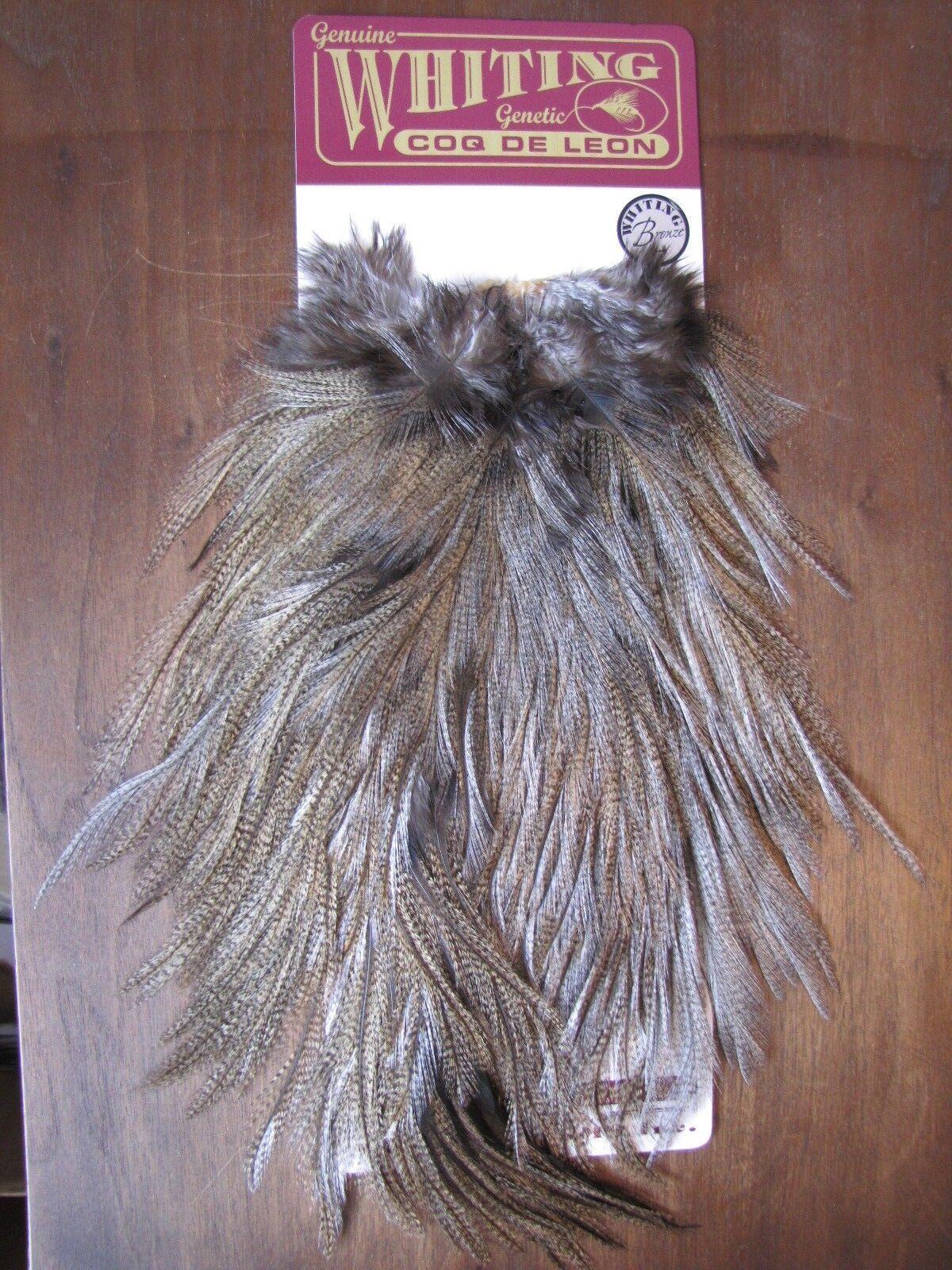 Fly Tying-Whiting Coq de Leon Bronze Rooster Saddle Medium Pardo  B