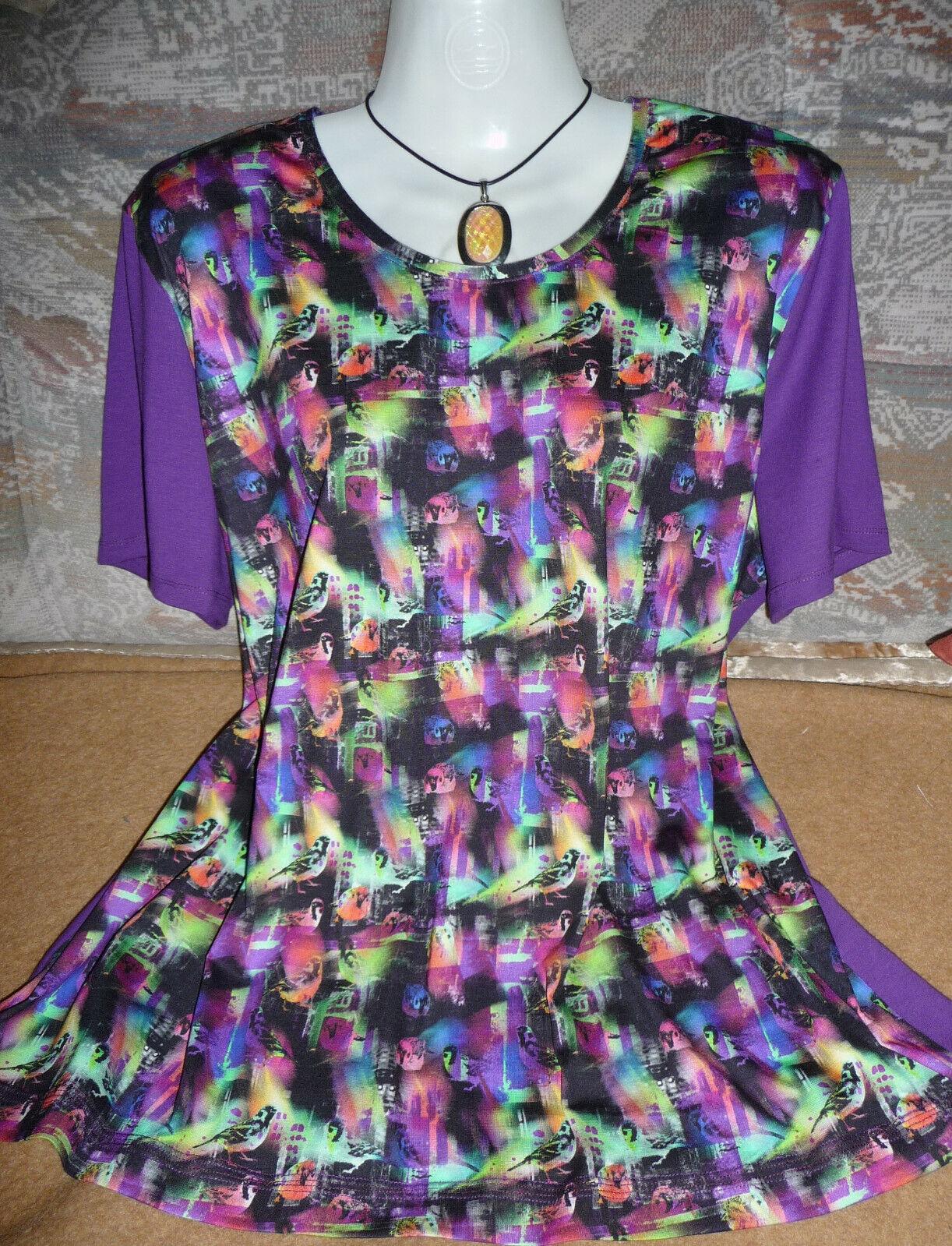 Toller Unikat,Damen Shirt,Kurzarm,Baumwolle elast,Gr 46-48-50,selbst genäht,NEU.