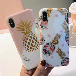 online store fdc89 7b997 Details about Marble Pineapple Cute Smooth Soft Phone Case Cover For iPhone  X 6 6S 7 8 Plus