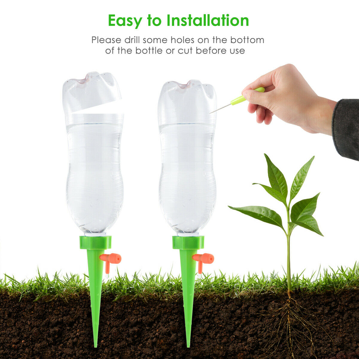 12X Garden Plant Self Watering Spike Irrigation watering with Slow Release Valve