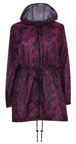 Womens Parka Printed Kagoul Waterproof Jacket Ladies Lightweight Hooded Raincoat