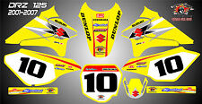 suzuki drz125 abziehbilder grafiken laminierte aufkleber motocross mx 125 gelb