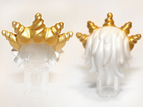 White Headgear Hair Ocean King with Gold Spiked Tiara Minifig LEGO