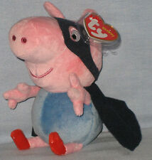 TY GEORGE SUPERHERO BEANIE BABY (UK EXCLUSIVE - PEPPA PIG) with NEAR PERFECT TAG
