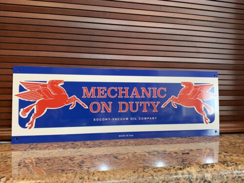 Mobil oil Mobiloil pegasus MECHANIC ON DUTY gas Gasoline advertising sign