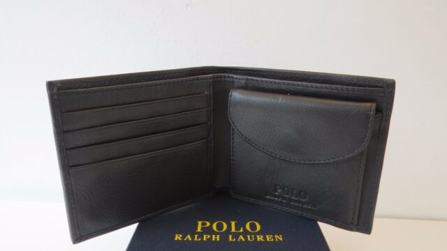 BNWB Polo Ralph Lauren Mens BF Wallet with Coin Pocket 100/% Cow Leather