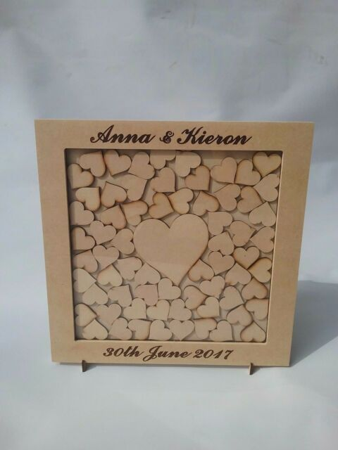 Wedding Drop Box Guest Book Complete With Hearts Square personalised