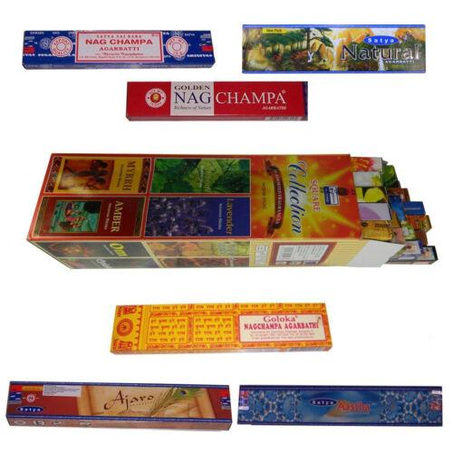 Räucherstäbchen Sortiment 25 Duftnoten 6 Schachteln beliebter Nag Champa Düfte