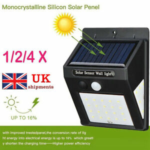 Outside Lights Garden Landscape & Walkway Lights 30 LED 3 Sides Solar Powered Lights Outdoor PIR Motion Sensor Security Garden UK