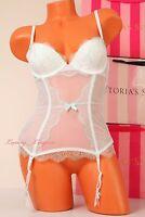 Victoria's Secret Premium 'i Do' Boned Garter Corset Slip Push-up 34b Mint