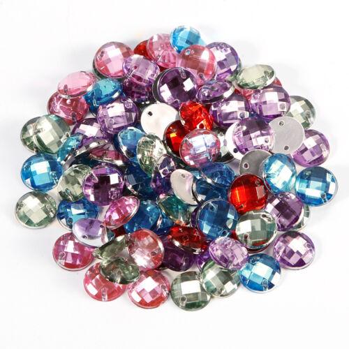 100 x Glitzersteine Acrylsteine zum Aufnähen auf Textilien Acryl-Strass-Steine