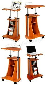 Image Is Loading Portable Laptop Cart Desk Rolling Adjustable Office Table