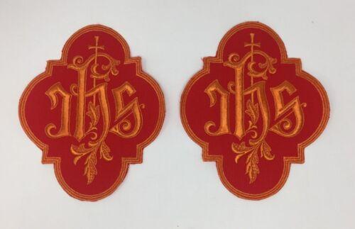 IHS Lota Eta Sigma Latin Cross Orange on Red Embroidered Applique Emblems 2 Pcs.