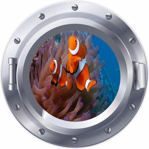 3D Porthole Window Nemo Fish Sea Coral Sticker Wall Poster Vinyl GA25-45