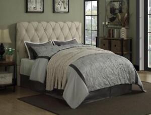 full size bed bedroom furniture beige upholster fabric button tufted headboard ebay. Black Bedroom Furniture Sets. Home Design Ideas