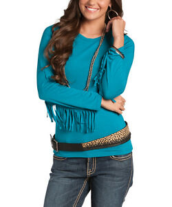 Cowgirl top fringe tee western women s soft long sleeve for Women s turquoise long sleeve shirt