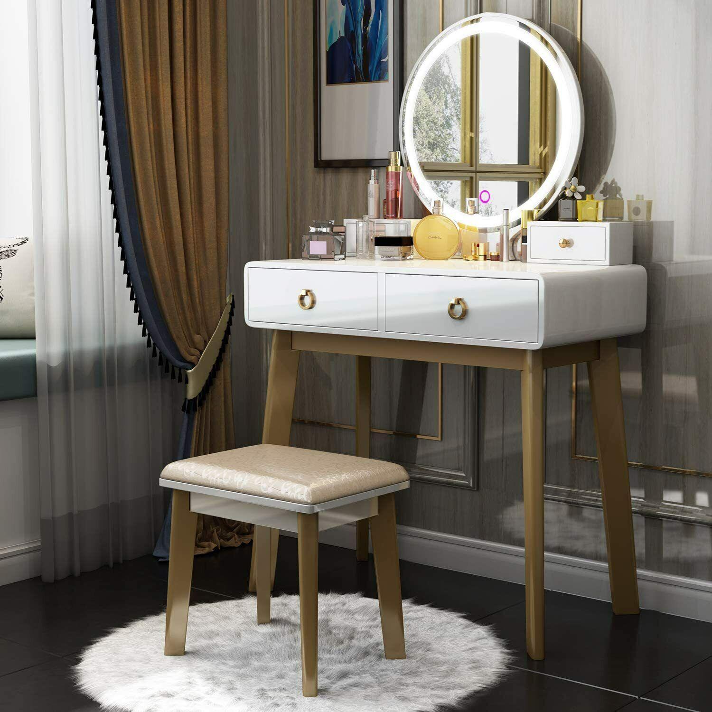 Bedroom Makeup Vanity Table Stool Set 3 Variable Led Backlight W 4 Drawers For Sale Online Ebay