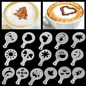 Rubicon Coffee/Chocolate Barista Stencils & Cake - 16 Designs - White Plastic