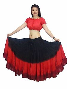 25 Yard Skirt Gypsy Tribal Cotton Skirts Belly Dance Dancing Black Maroon Red