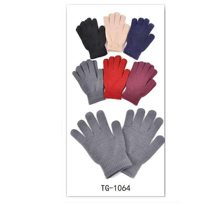 Trustful Magic Gloves Knit Stretch Winter Warm Unisex Mens Womens Plain Adult One Size