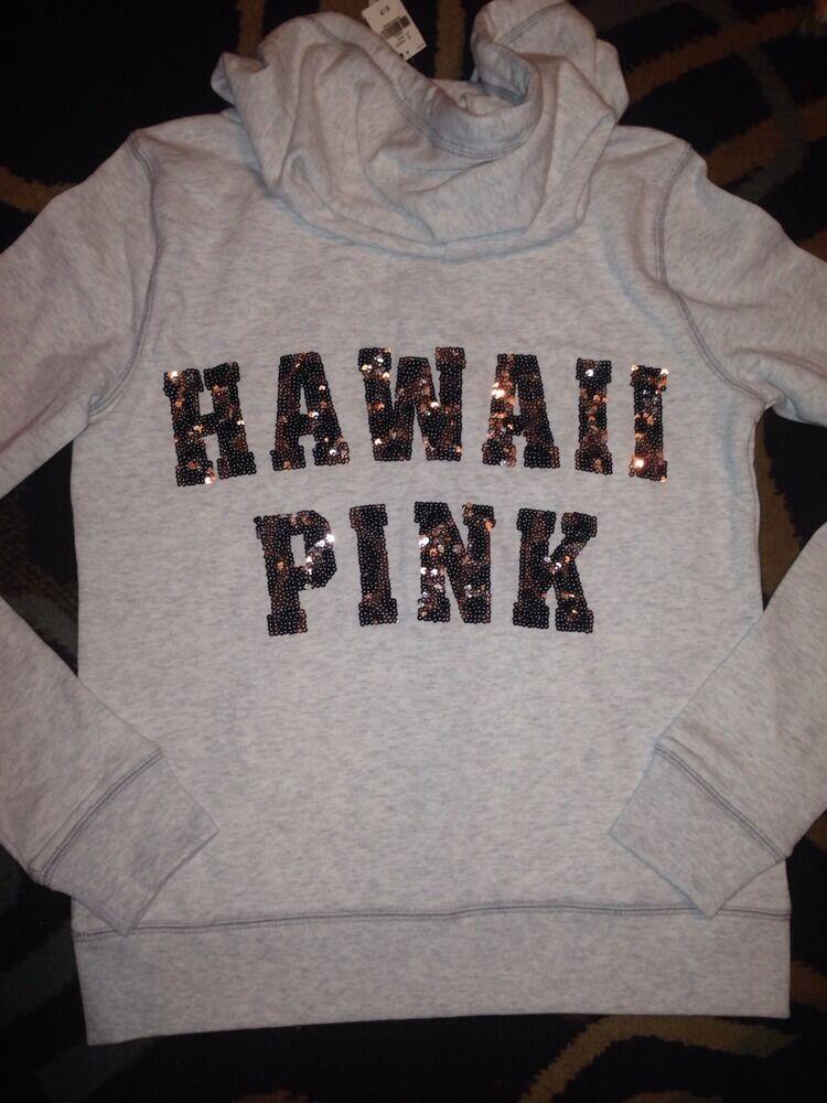 Victorias Secret Pink Leopard BLING Sequins Hawaii Zip Up Up Up Hoodie Sweatshirt S 5ec7f3
