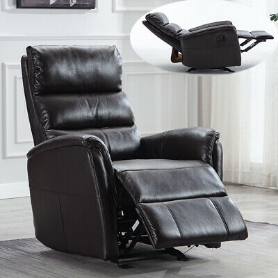 Glider Rocker Recliner Chair Breathable PU Leather Sofa Padded Seat Black Brown