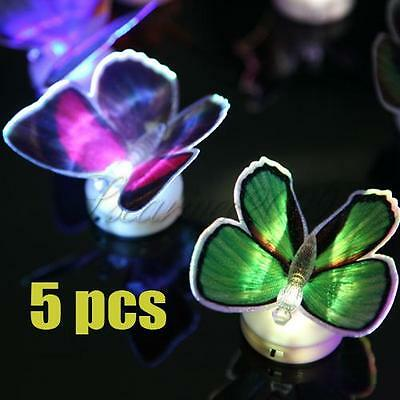 5pcs Changing Fiber Optic Romantic LED Butterfly Party Light Christmas Gifts