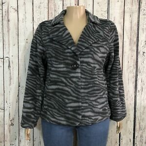 Susan-Graver-Style-Blazer-Jacket-Misses-XL-Gray-Animal-Print-Stripe-Soft-Fleece