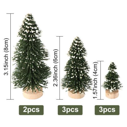 8pcs Christmas Pine Tree Xmas Mini Snow Small Trees Village House Tabletop Decor