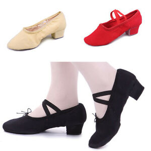 New Lady Canvas Teach Dance Shoes Soft Bottom Strappy Folk Dance Shoes Chunky