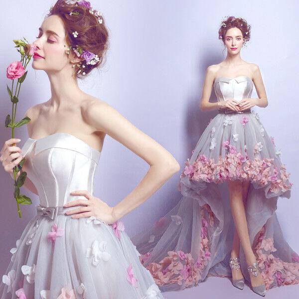 Strapless High Low Beach Wedding Dress Flower Sash Summer Bridal Gown Size 4 6++