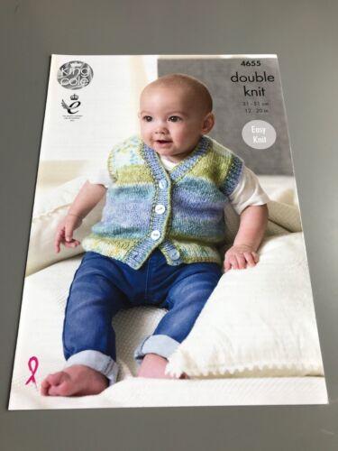 King Cole Knitting Pattern Slipover /& Waistcoat 4655 sizes 31-51cm