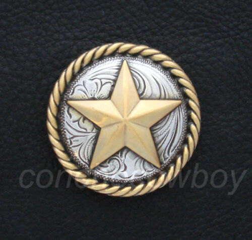 "Set of 6 WESTERN TACK ANTIQUE GOLD ROUND ROPE EDGE STAR CONCHOS 1-1//4/"" screwback"