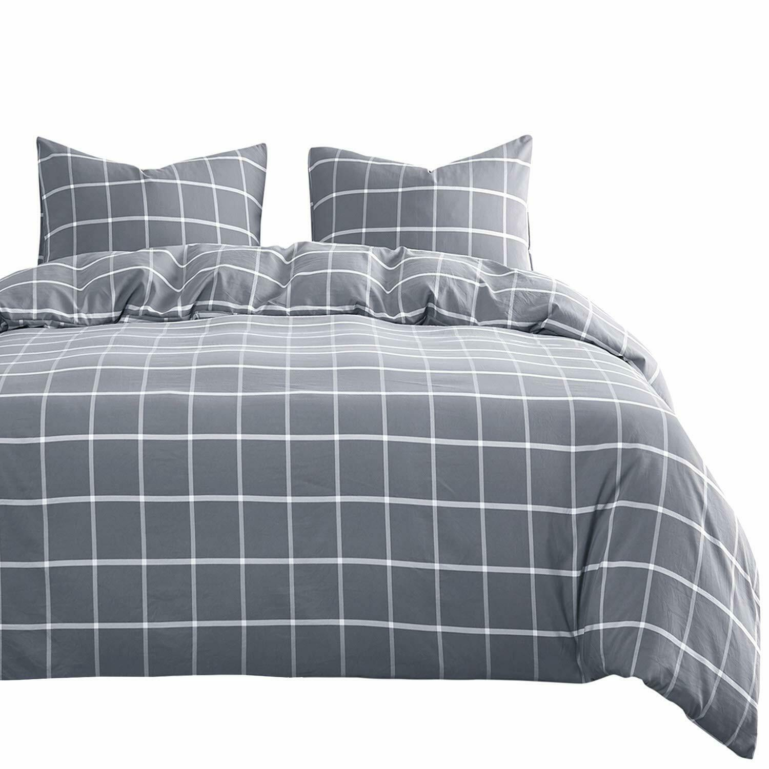 Wake In Cloud Gray Grid Comforter Set Grey With White Grid Geometric Pattern Ebay