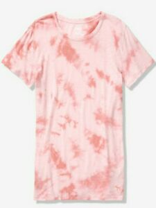 NWT-PINK-VS-VICTORIA-039-S-SECRET-CREW-TEE-TSHIRT-PINK-TIE-DYE-LARGE-FREE-SHIPPING