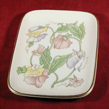 "Vintage BEN RICKERT Floral Soap Salts Fine China Pin Tray 6 1/2"" / Made In Japan"