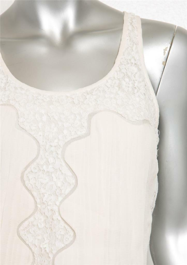 CHLOE Womens Ivory Pleated Floral Lace Sleeveless… - image 4