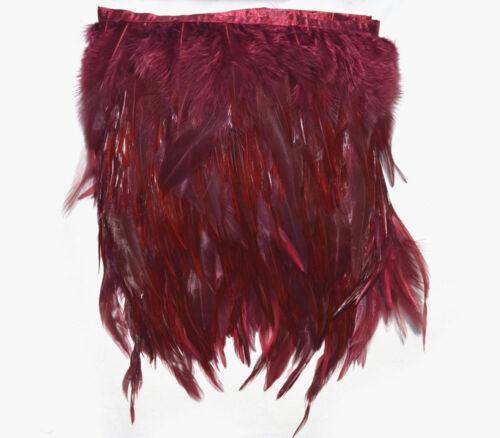 F289 PER30cm-Burgundy Red Rooster Hackle feather fringe Trim Fascinator Material