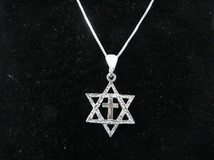 Sterling silver messianic star of david cross necklace authentic ebay image is loading sterling silver messianic star of david cross necklace aloadofball