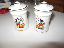 Vintage Disney Mickey Mouse Salt and Pepper Shakers Japan VG Condition Chef