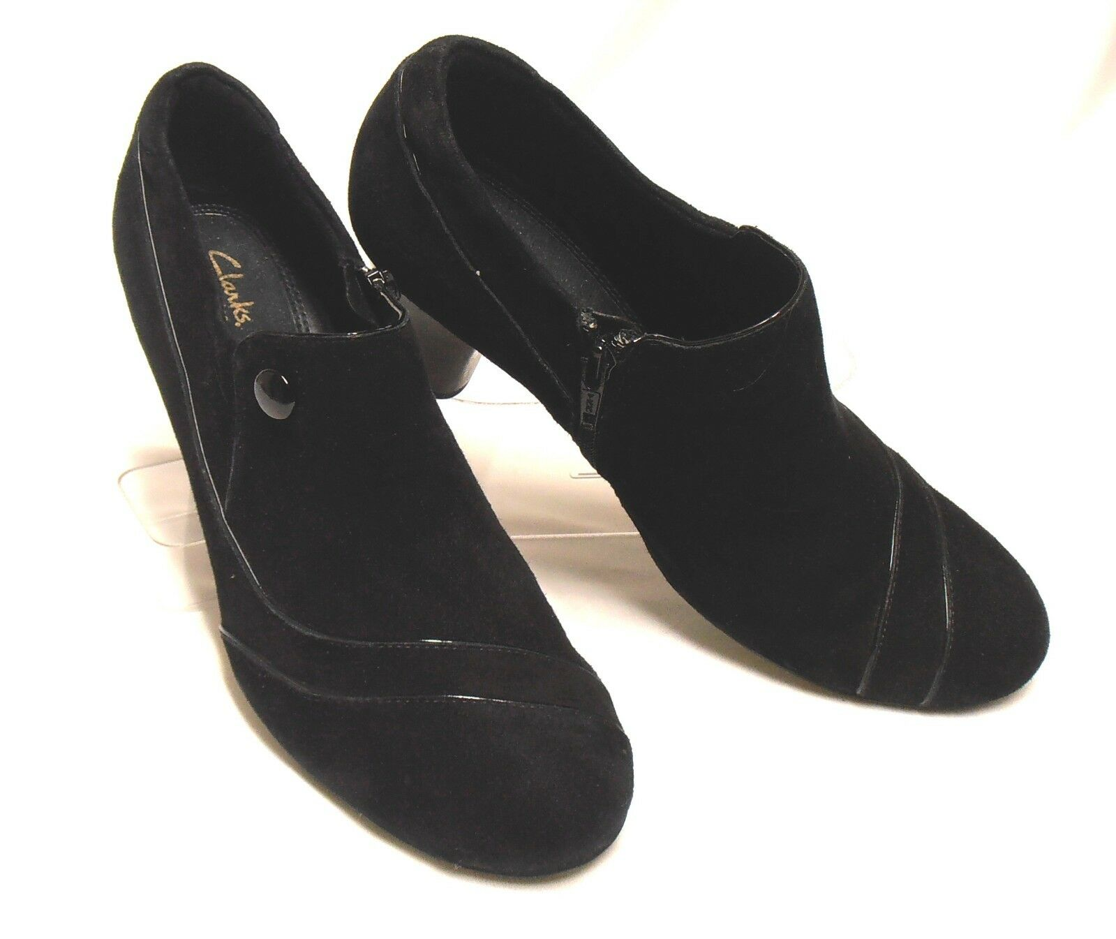CLARKS Size 10 M Black Suede Leather High-Heel Side-Zip Detailed Dress Booties