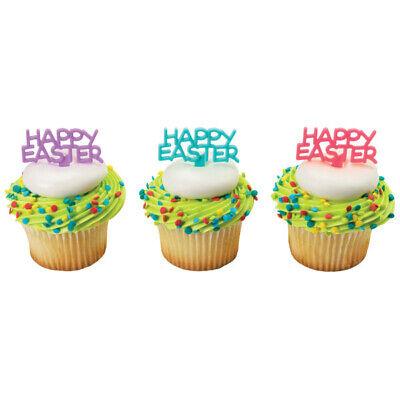 New Easter Cake Toppers Happy Easter Cupcake Picks One Dozen Script