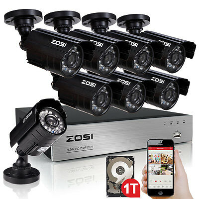 ZOSI 8CH 720P AHD DVR 1500TVL IR Outdoor CCTV Home Security Cameras System 1TB