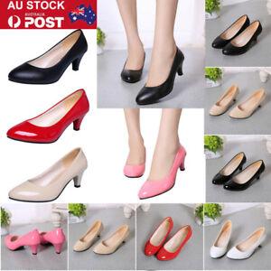 AU-Women-Lady-Low-Mid-Kitten-Heel-Court-Work-Office-Leather-Pumps-Shoes-Sandals