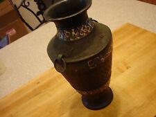 "Antique Asian Japanese Brass Bronze Enamel Champleve Vase 11 3/4"" Beautiful Lamp"