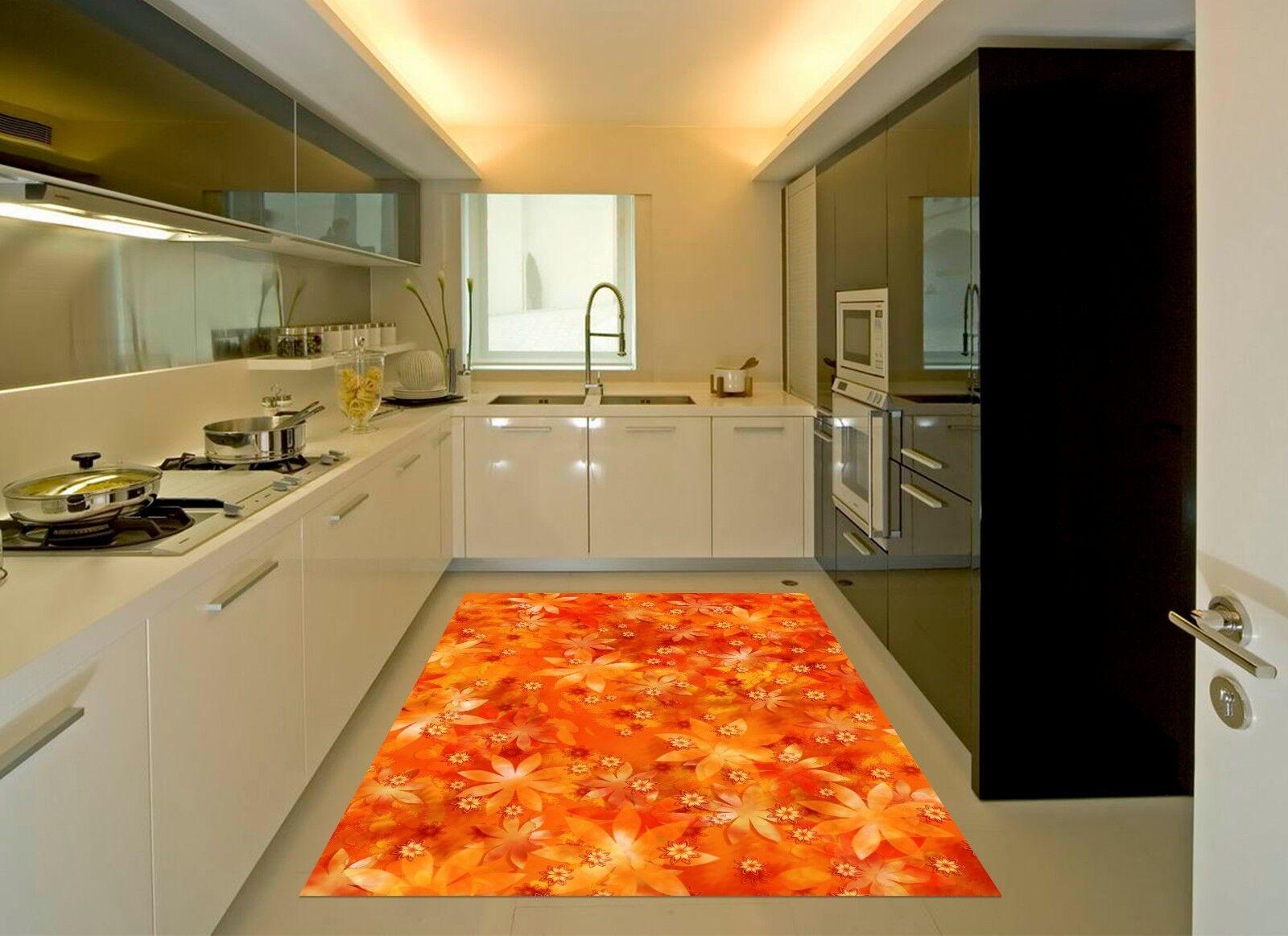 3D Orange Flowers 873 Kitchen Mat Floor Murals Wall Print Wall Deco UK Carly